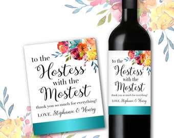 Lovely Baby Shower Hostess Gift To The Hostess With The Mostess Thank You Gift  Wine Champagne Bottle