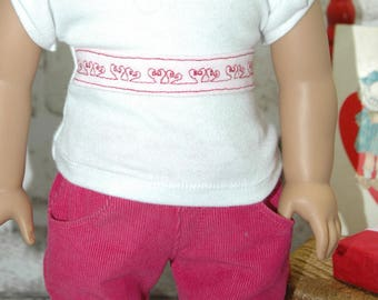 American, Made, Girl, doll, tee, shirt, 18 inch, doll clothes, doll clothes, valentine