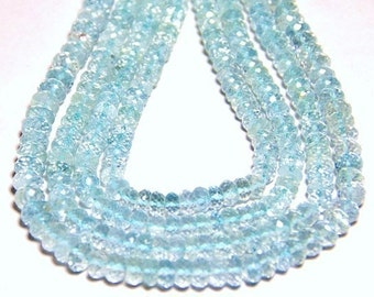 "AAA 5mm 6"" line AQUAMARINE sky blue faceted rondelle or rondelle gemstone beads"