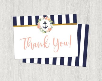 Nautical Thank You Cards | Navy, Pink and White | Instant Download (6x4 Folded)