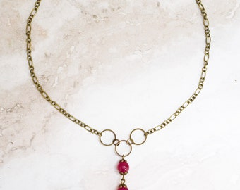 Fuchsia jade dangle necklace, bronze chain different lengths available, bronze necklace, fuchsia pink beaded necklace