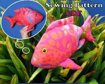 "Sewing Pattern PDF FingerPocketFish2 ""That Little Fishy"" Puppet Style Action Toy for Children Full Sized Pattern pieces & Instructions."