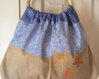 By the Sea Fabric Purse with Bamboo Handles
