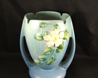 Vase marked Roseville, 983-7,    7 inches tall, green and blue hues