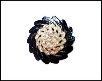 Antique Rhinestone Brooch, Black Japanned Metal, 1950s Fur Brooch, Black and White, Little Black Dress, Gift for Mom, Mothers Day Gift