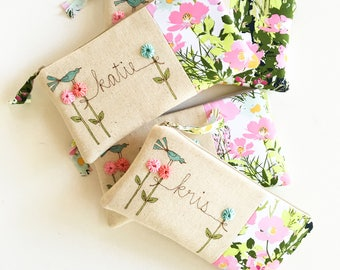 Custom Personalized Bridesmaid Clutch, Ask Bridesmaid Gift, Floral Bridesmaid Bag, Wedding Party Clutches Gift Set of 6, 7, 8, 9