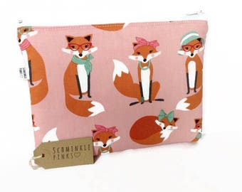 Glam Foxes Makeup Bag, Pencil Case, notions bag, cosmetic bag, makeup pouch, pencil bag