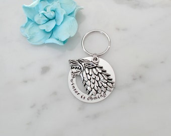 Game of Thrones Inspired 'Winter is Coming' Keychain with House Stark Inspired Direwolf Charm | Personalization Available