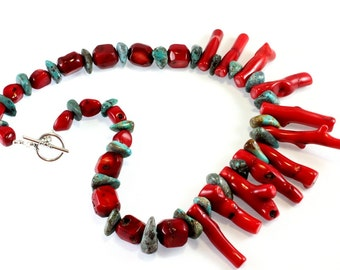 Bamboo Stick Coral and Turquoise Necklace, Turquoise Nuggets, Sterling Silver, Organic, Statement Necklace