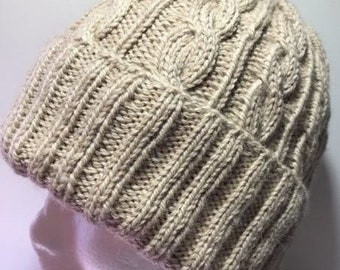 Hand Knitted Merino Alpaca Blend Cable Beanie