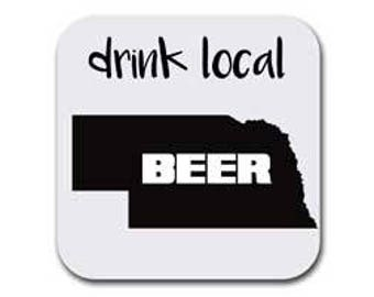 Nebraska Drink Beer From Here Coaster Set  - Six (6) Table Drink Coasters - Absorbent | Furniture Safe Nebraska Gifts - Quality Neoprene