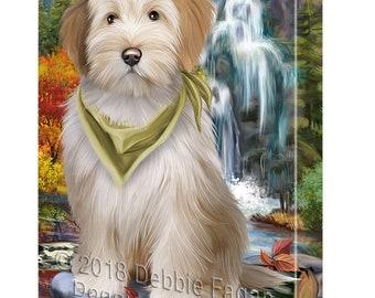 Scenic Waterfall Tibetan Terrier Dog Canvas Wall Art