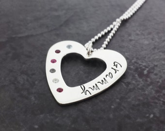 Sterling Silver Mother's Necklace with Birthstones - Mom Jewelry - Grandmother Necklace - Hand Stamped Heart Washer Necklace - Flush set