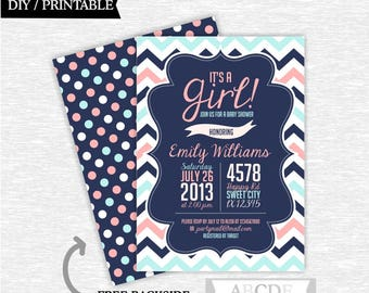 Coral, Blue, Navy Girl Baby Shower invitation, It's a Girl Baby Shower invitation Chevron DIY Printable (PDCH200)