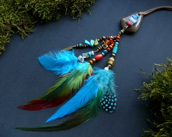 Blue green red turquoise amber gemstone and feather car jewelry car decor rear view mirror charm hippie boho tribal handmade accessory