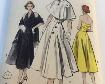 1950s Halter Dress and Shawl Sewing Pattern with Front and Back Buttons. Butterick k 6084 Size 14 Bust 32""