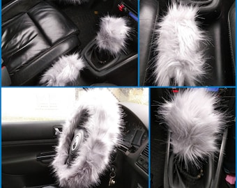 Gray Fuzzy Car Set, 3 pcs Fuzzy Set, Car accessories, Fuzzy Car Accessories Set,  Faux Fur Steering Wheel Cover