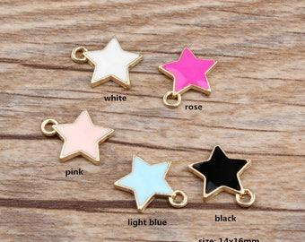 10PCS, 14x16mm, Enamel Charm, Star Charm, Enamel Star, Enamel Jewelry, Bracelet Charm, Craft Supplies, Gold Tone