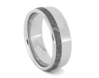 Gibeon Meteorite Wedding Band, Men's Titanium Ring With Meteorite Strip, Handmade Meteorite Jewelry