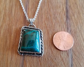 Sterling Silver and Chrysocolla and Malachite pendant necklace