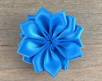 Blue Satin Ribbon Pinwheel Flower, Blue Satin Pinwheel, DIY headband supplies, DIY hair bow flower, DIY hair clip, hair flower