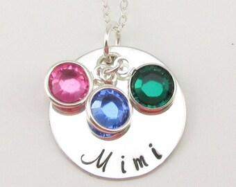 Sterling Silver Mimi Necklace Personalized Silver Jewelry Swarovski Birthstones Mothers Day gift for Mimi Grandma Mimi Oma or Gigi
