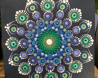 """Hand painted dot manda on a 8""""x8"""" stretched canvas"""