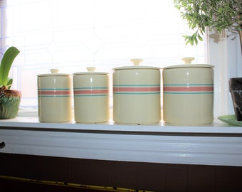 Vintage Kitchen Canister Set McCoy Stonecraft Pink and Blue Stripes