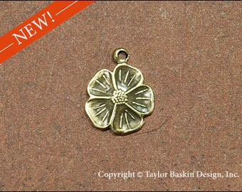 Antiqued Polished Brass Dogwood Flower Jewelry Earring or Pendant Jewelry Drop (item 1620-small AG with loop) - 6 Pieces