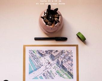 """Grande carte postale """"Guillotière """", 15x21 cm"""