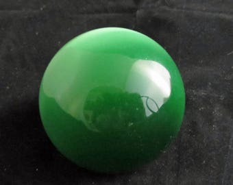 Green Glass Paperweight Vintage