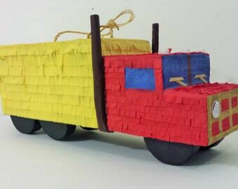 Red and Yellow 6 wheeler Pinata Truck