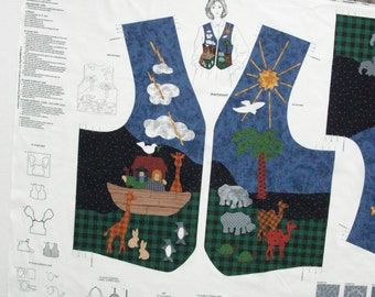Noah's Ark Vest / PrePrinted Fabric Panel / Ready to Sew / Dreamspinners for V.I.P. /  Cranston Prints / Fabric Craft Panel