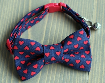 Valentine's Day, Hearts, Lightweight Fabric Cat Collar with Matching Bow Tie, Breakaway Clasp, Safety Buckle, Optional Bell, Navy Blue, Red