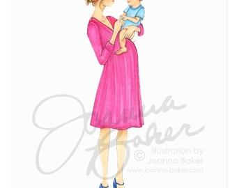 Chic Momma Fashion Illustration Art Print / Fashion Illustration Sketch, Fashion Sketch Art, Motherhood, Fashion Print, Nursery Print