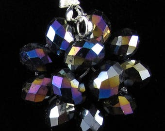 37mm faceted rainbow crystal rondelle pendant bead41797 16764
