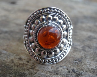 Natural Amber Sterling Silver Ring Size 9.5 - Ring size 9 10 - Natural Stone Ring - Amber sterling silver Ring Natural Amber ring size 9 10