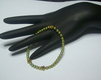 Olive Green Petite Pearls Stretchy Bracelet with gold flower accents  .... Faux Pearl Bracelet ...  Now with a lower price