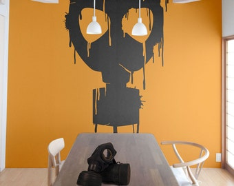 Dripping Grunge Vintage Gas Mask Biohazard Radioactive Cosplay Toxic Military Hazardous Nuclear Zombie Gothic Anime Wall Decal by Blazing