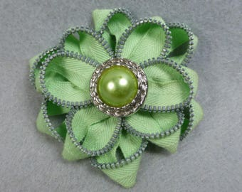 Green Flower Brooch, Zipper Brooch, Green Brooch, Green Pin, Zipper Pin, Zipper Art, Flower Pin, Upcycled, Recycled, Repurposed