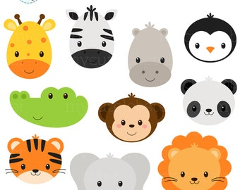 Wild Animal Faces Clipart Set - giraffe, crocodile, panda, lion, tiger, animal faces - personal use, small commercial use, instant download