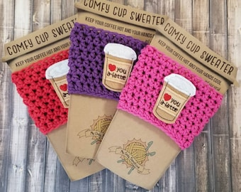 Latte Cup Cozy, Coffee Cup Cozy, Cup Sleeve, Coffee Cup Warmer, Cup Cozy Crochet, Love You A Latte, Thanks a Latte, Latte Cup Warmer, Cozy
