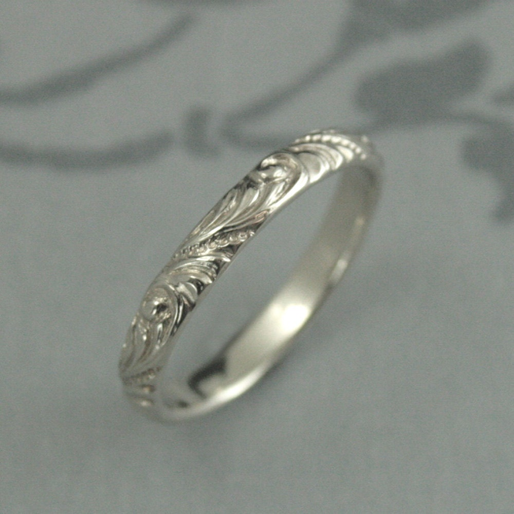 White Gold Wedding BandFlorence Flourish Patterned