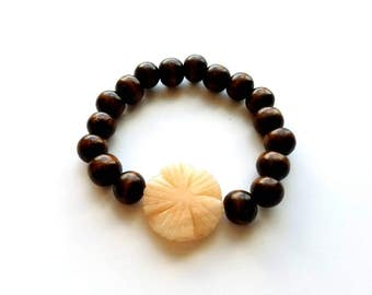 Wood Beads with Hand Carved Flower Stone Stretch Bracelet