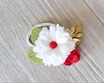 Felt Flower Headband, Felt Flower Crown, Baby Headband, Baby Headband, Felt Flower Hair Clip, Little Girl Headband, Flower Girl Clip