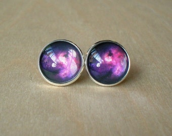 20% OFF -- Galaxy Cosmos Dark Purple / Black Stud earring,Beautiful Gift For Her.Great for party