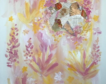 Floral mixed media collage 3/4