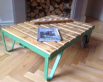 Industrial Vintage Coffee Table Made From An Original Pallet Trolley
