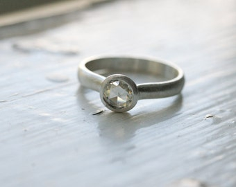5mm Rose Cut Moissanite Solitaire in Sterling Silver