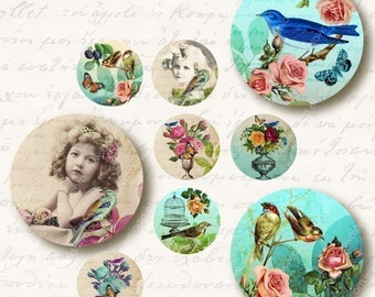 Eden 1 inch Circles, Digital Collage Sheet, Download and Print Jpeg Clip Art Images
